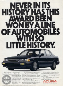 Acura Legend in 1988 rated highest in J.D Power and Associated Customer Satisfaction Index