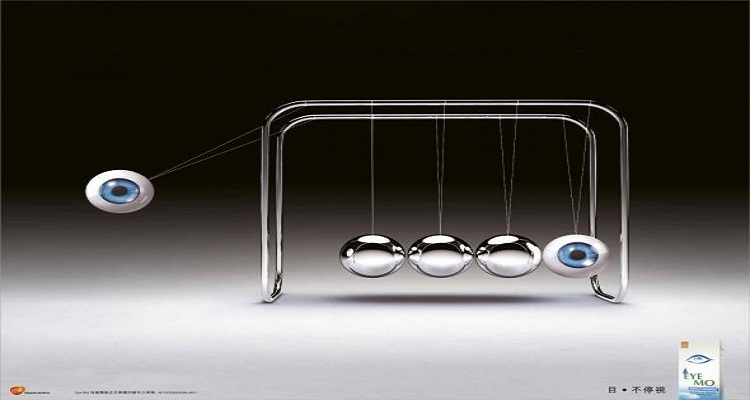 eyemo:newton cradle-print-advertising